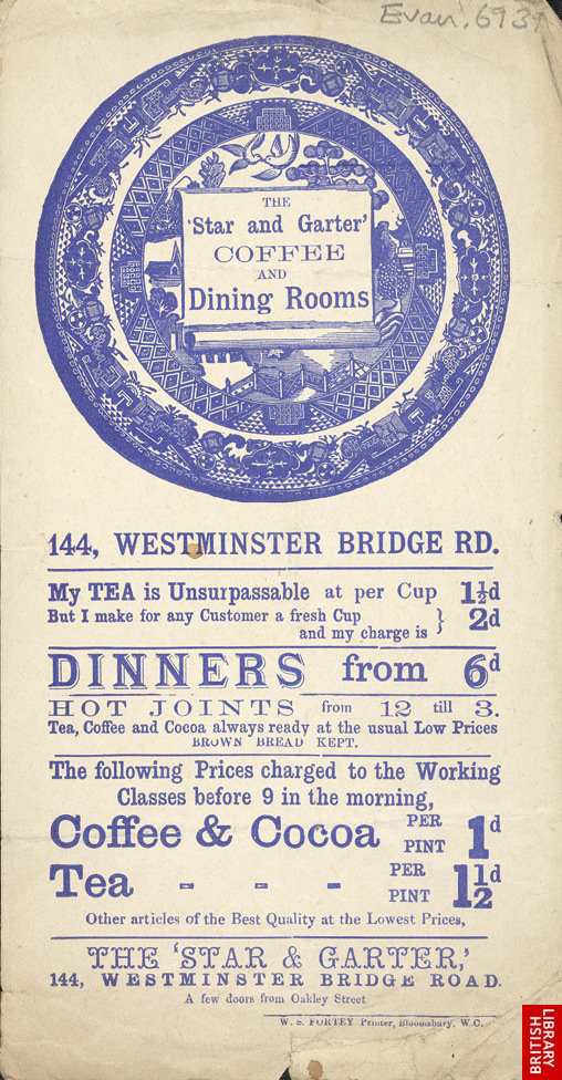 Advert for the Star & Garter Coffee & Dining Room